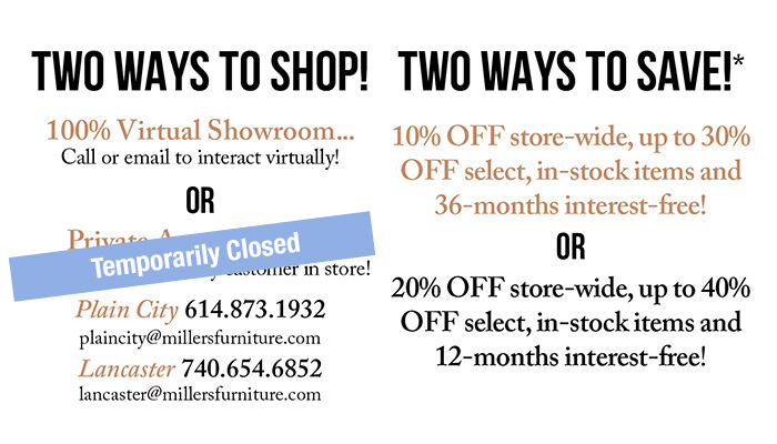millers furniture 2 ways to shop 2 ways to save event