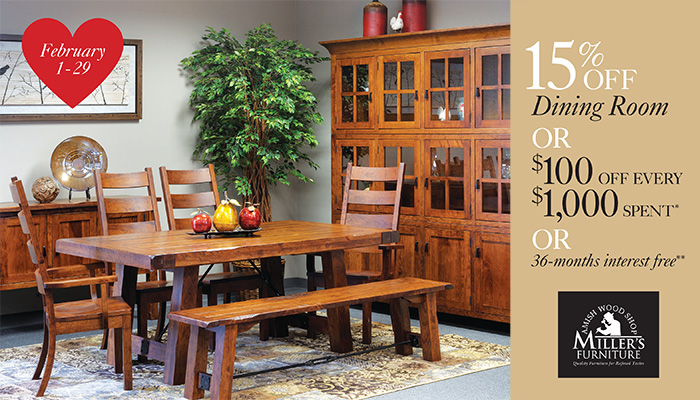 millers furniture dining room sale event