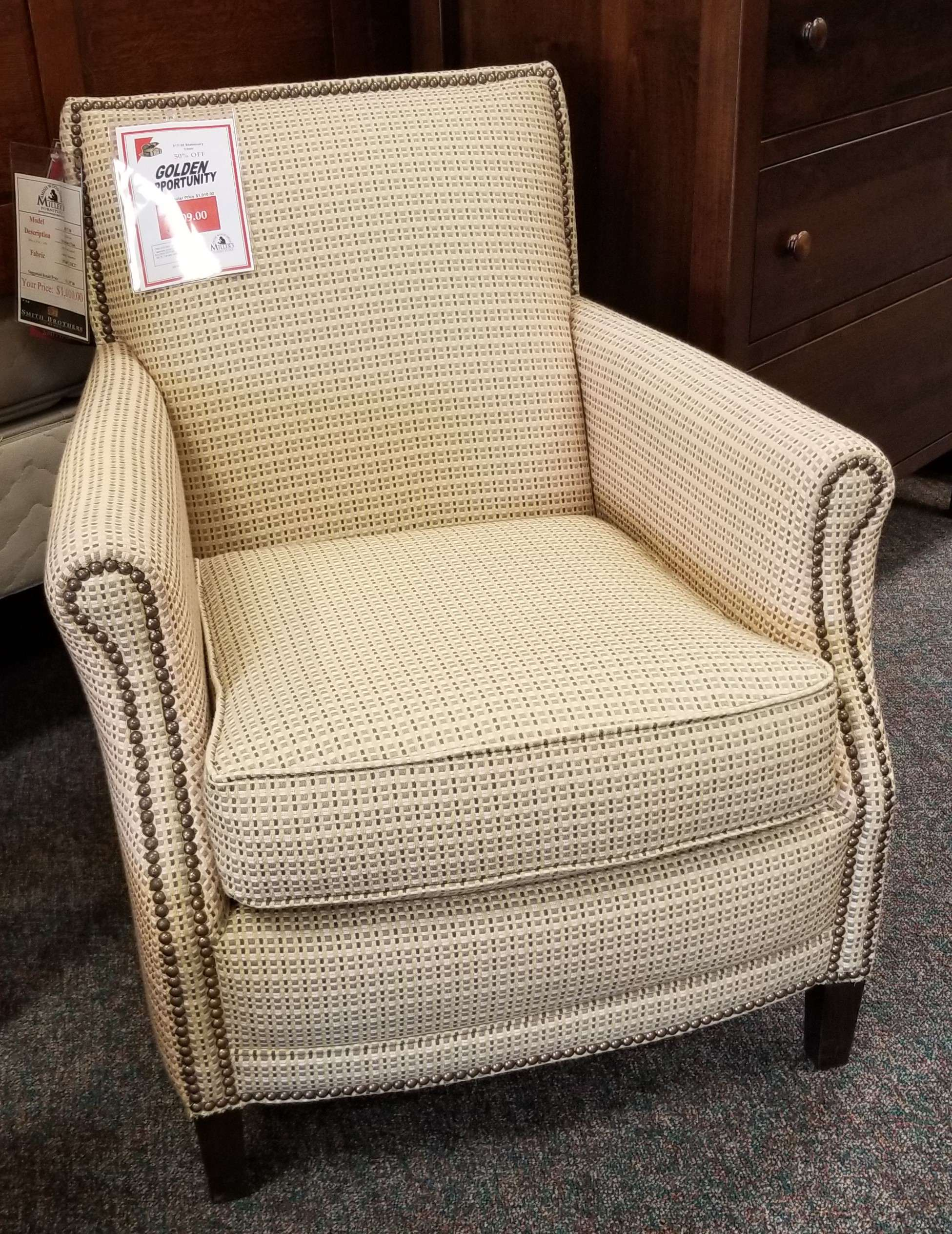 Smith Brothers Fabric Stationary Chair