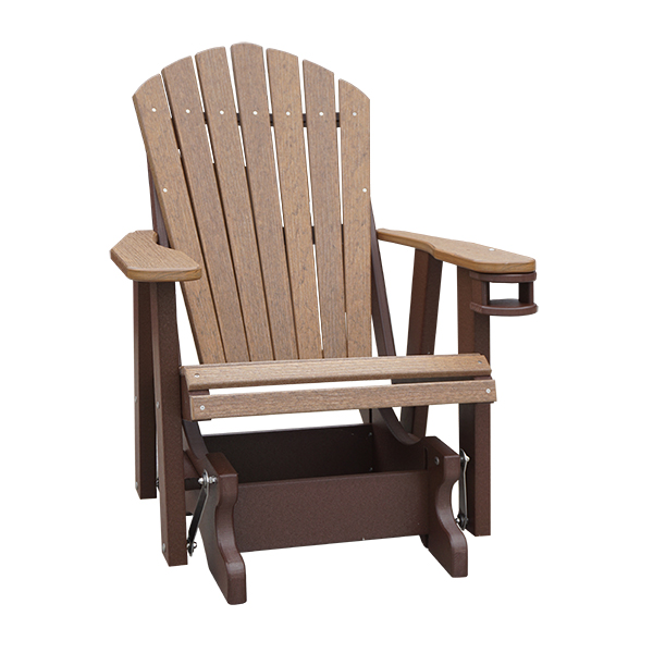 poly two foot adirondack glider with cup holder