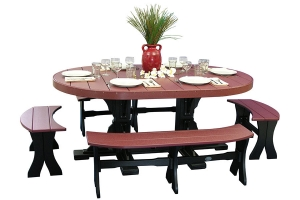 poly four foot by six foot poly oval table