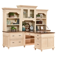 partners desk and three piece hutch
