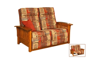 upholstered mission wallhugger love seat