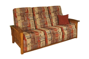 upholstered mission wallhugger sofa