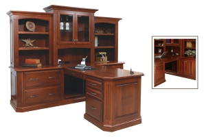 partner desk and three piece hutch