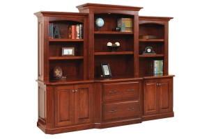 three piece credenza and bookcase set