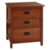 mission three drawer nightstand