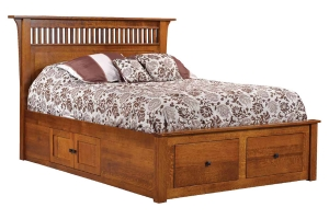 mission bed with drawer unit