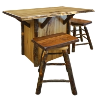 hickory live edge bar with swivel stools
