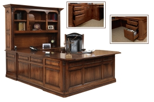 u-shape desk and hutch