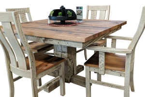 reclaimed barnwood dining table and chair set