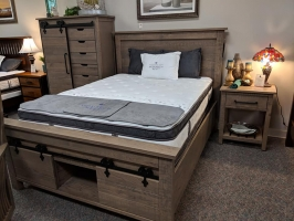 rustic quarter sawn white oak bedroom set with under bed storage units