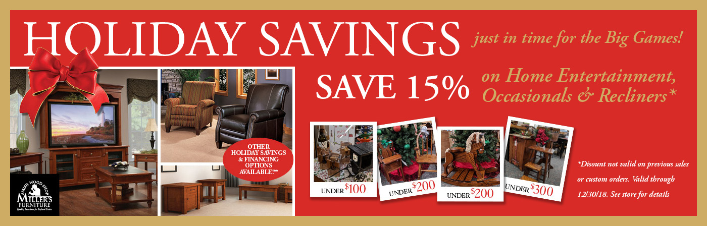 holiday savings at millers furniture through 12/30